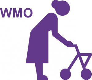 Wmo logo met vrouw met rollator