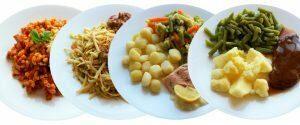 afbeelding met vier borden eten