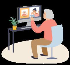 Oudere mevrouw die aan het beeld bellen is met familie