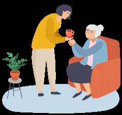 afbeelding een mevrouw die een oudere mevrouw een kopje koffie geeft
