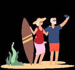 afbeelding ouder koppel die een selfie maakt, de vrouw houd een surfplank vast